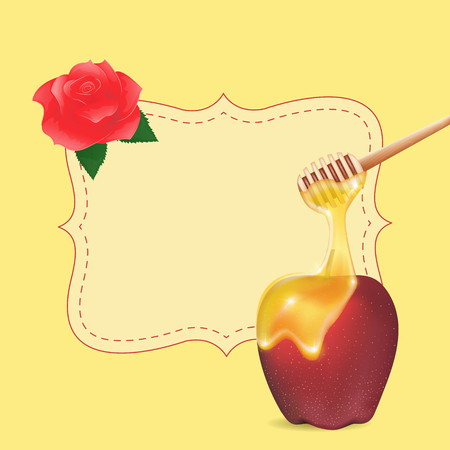 jewish new year: Traditional apple and honey with empty blank . Design element for Rosh Hashanah (Jewish New Year). Illustration