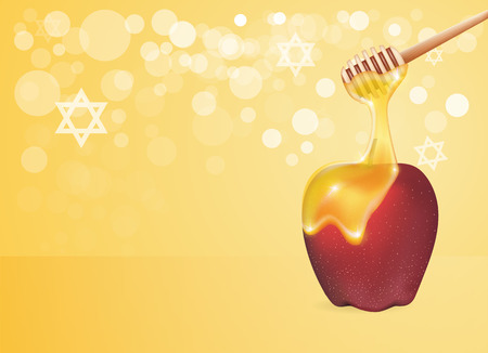 Traditional apple and honey isolated. Design element for Rosh Hashanah (Jewish New Year).