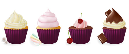 flavors: Different flavors isolated set of cupcakes on white background.