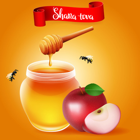 lettering with text Shana tova with traditional apple and honey. Design elements for Rosh Hashanah (Jewish New Year). Illustration