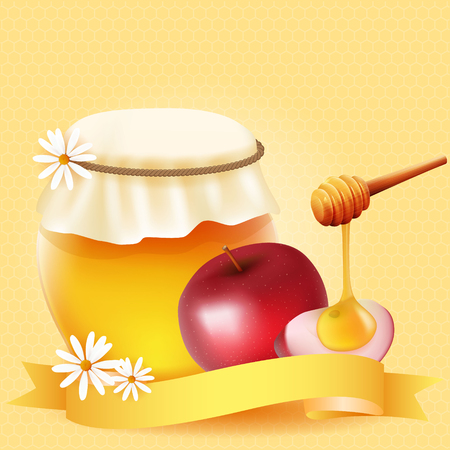 Traditional apple slice and honey. Design for Rosh Hashanah (Jewish New Year).