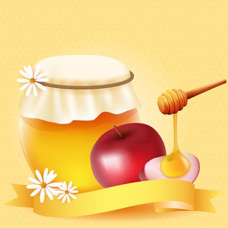 apple slice: Traditional apple slice and honey. Design for Rosh Hashanah (Jewish New Year).