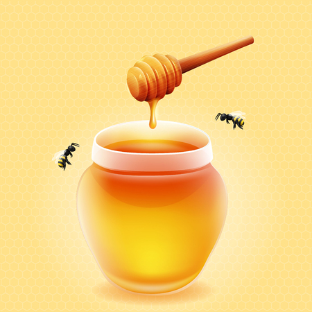 dipper: jar of honey with wooden honey dipper and bees.