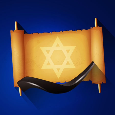 shofar: Jewish holiday Yom kippur background with torah and shofar. Illustration