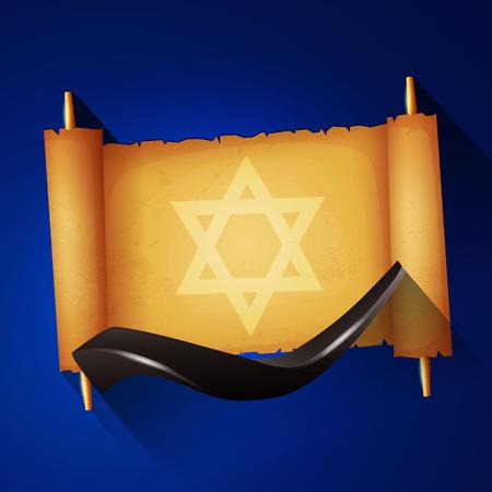 yom kippur: Jewish holiday Yom kippur background with torah and shofar. Illustration