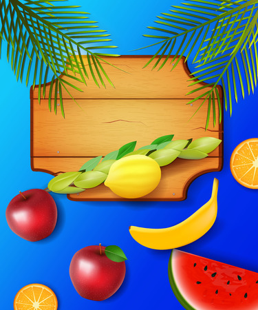 succot: Colorful design with  symbols of the Jewish festival of Sukkot and fruits.