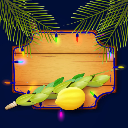 Design with symbols of the Jewish festival of Sukkot. Illustration