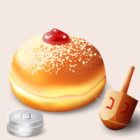 chanukkah: illustration of jewish holiday Hanukkah with traditional donuts and wooden spinning top and coins.