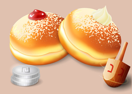 chanukiah: Vector illustration of jewish holiday Hanukkah with traditional donuts and wooden spinning top and coins. Illustration