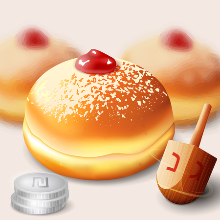Vector illustration of jewish holiday Hanukkah with traditional donuts and wooden spinning top and coins. Illustration