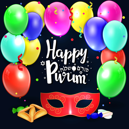 oznei: Hand written lettering with text Happy Purim .Vector colorful background of jewish holiday Purim with traditional hamantaschen cookies and candy.