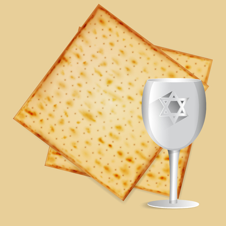 Realistic vector matza with kiddush cup for Jewish Passover.
