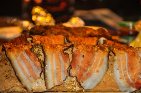meaty: roast ham rolled with bacon with mushroom stuffing