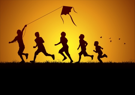 jumps: Children flying a kite