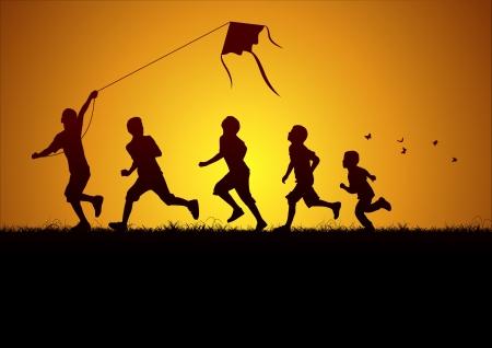 Niños que vuelan una cometa Ilustración de vector