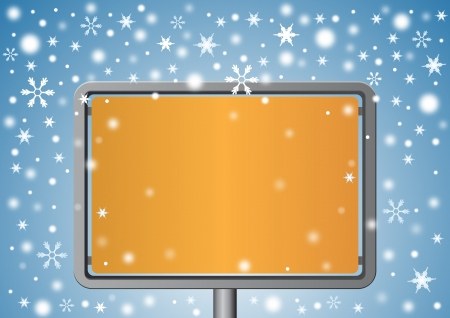 Signboard under snowflakes