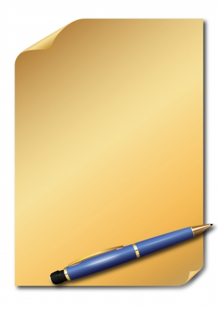 paper curl: Golden paper and blue pencil