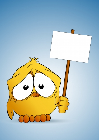 Chick with signboard Vector