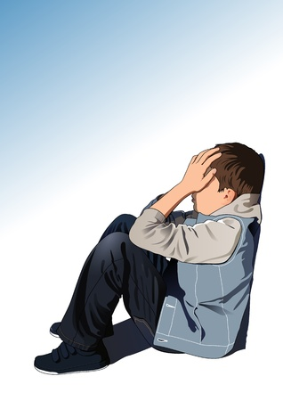печальный: Печальный малыш Иллюстрация