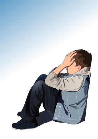 niños tristes: Niño triste Vectores