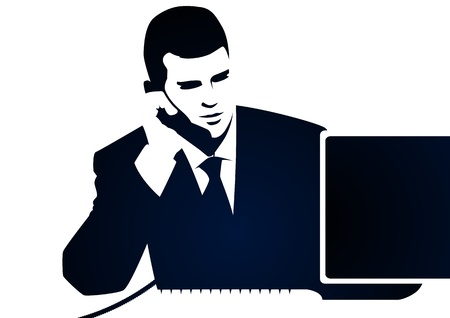 phone button: Businessman and phone call Illustration