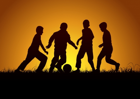convivencia escolar: Cuatro niños con la bola