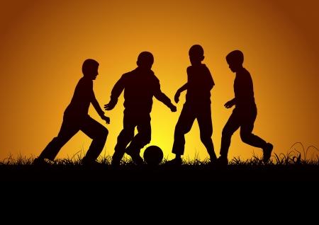 Four boys with ball Vector