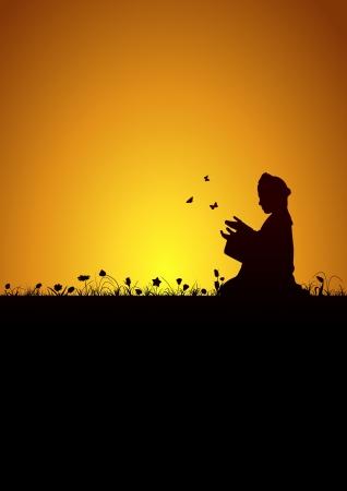 muslim pray: Little kid praying Illustration