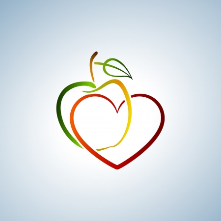 Apple and heart Vector