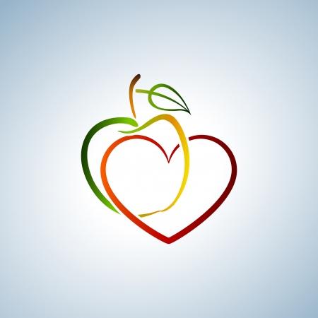 manzana agua: Apple y el corazón Vectores