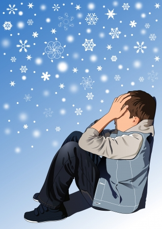 miserable: Sad kid under snowflakes Illustration