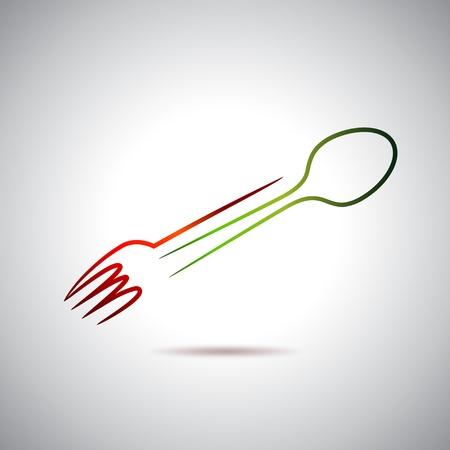 logos restaurantes: Tenedor y cuchara logo Vectores