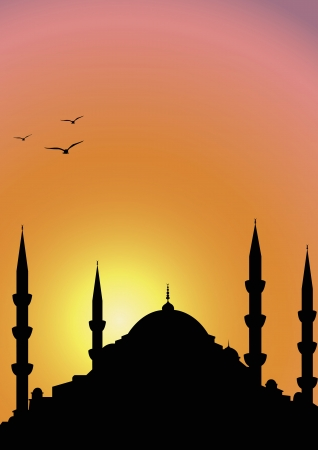 morning rituals: Mosque at sunrise Illustration