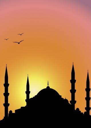 Mosque at sunrise Illustration