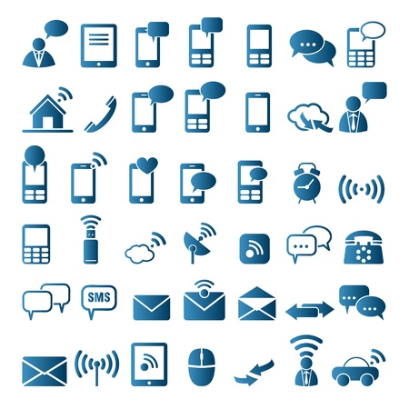 cell phones: Communication icons Illustration