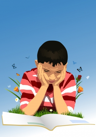 Child in the garden and homework  Stock Vector - 16097550