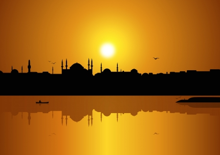 Istanbul and sunset Vector