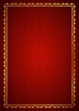 Floral frame in red background Vector