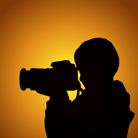 Photographer kid at sunset Vector