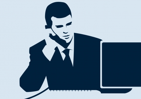 Businessman and phone call in blue Vector