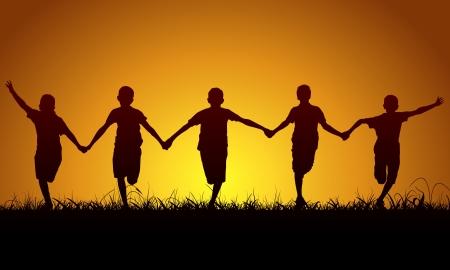 felicitation: Running happy boys at sunset Illustration