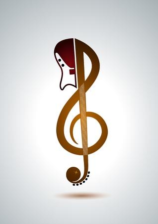 sonic: Key signature with guitar Illustration