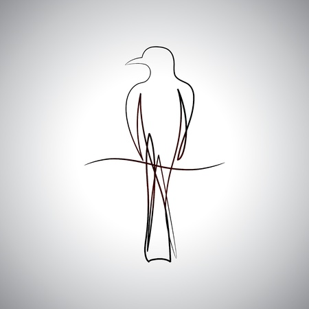 pinkie: Bird drawing logo Illustration