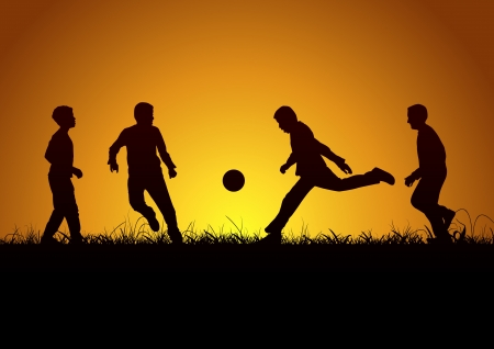 Four boys and sport Stock Vector - 16733601