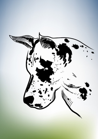 Black white dog Vector