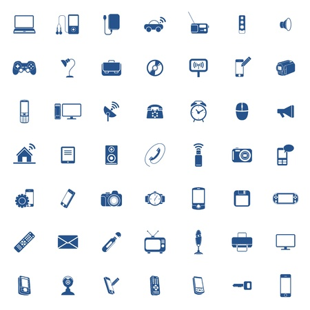 phone the clock: Technology icon set