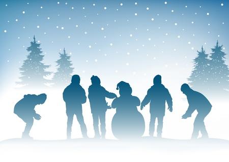 fraternidad: Invierno y niños Vectores