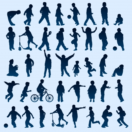 Kid silhouettes Vector