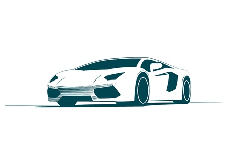 touring car: White sport car and racing