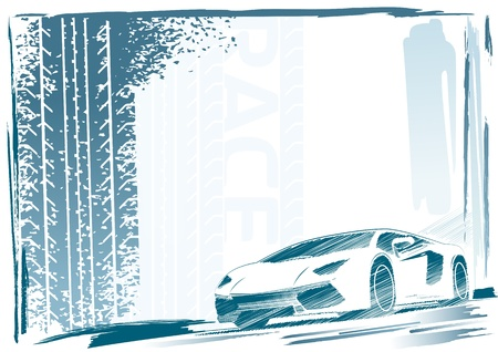 Sport car frame Vector